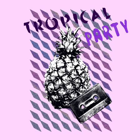 Pineapple. Art collage minimal Flyer design Tropical party mood