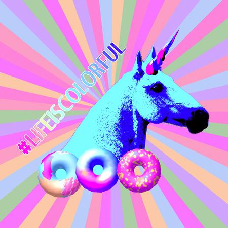 Art collage minimal Flyer design My unicorn life concept
