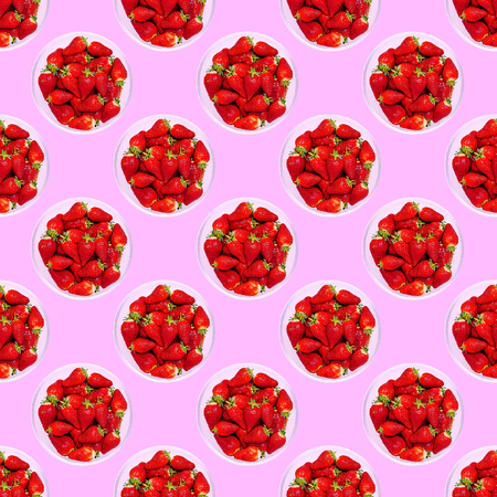 Seamless strawberry  pattern.  Berry background. Use for t-shirt, greeting cards, wrapping paper, posters, fabric print.  Flat lay minimal art