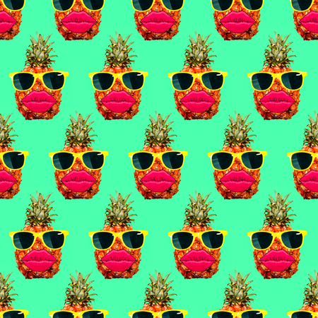 Seamless fashion pineapple pattern.  Use for t-shirt, greeting cards, wrapping paper, posters, fabric print. Minimal flat lay. Pop art