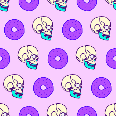 Seamless pattern. Donut lover background. Use for t-shirt, greeting cards, wrapping paper, posters, fabric print. Fashion hipster Sketch art Banco de Imagens