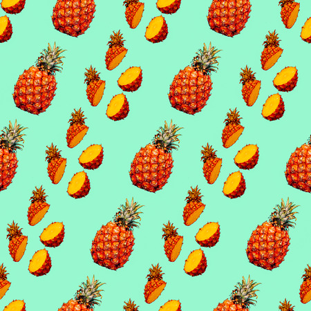 Seamless photo pattern. Pineapple background. Use for invitations, greeting cards, wrapping paper, posters, fabric print.
