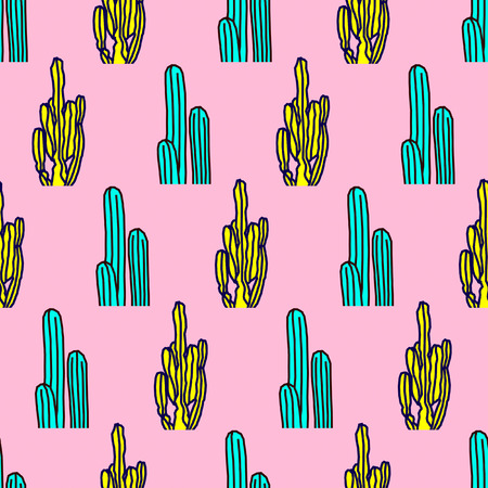 Seamless pattern. Cactus Mix background. Use for t-shirt, greeting cards, wrapping paper, posters, fabric print. Fashion Minimal Illustration