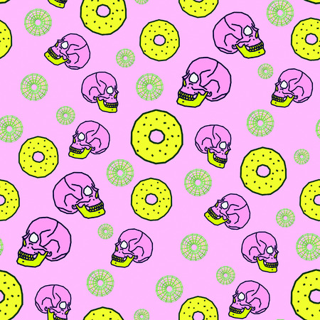 Seamless pattern art. Vanilla donut Skull background. Use for t-shirt, greeting cards, wrapping paper, posters, fabric print. Fashion designer minimal Sketch