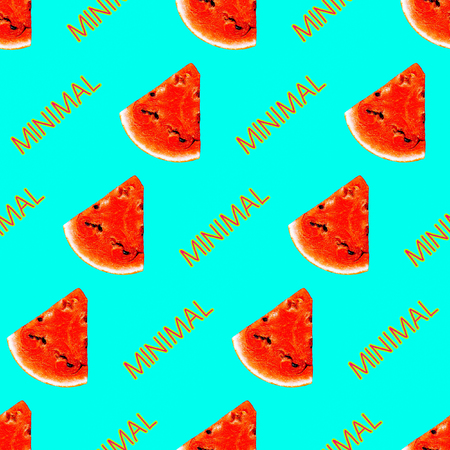 Tropical summer print for t-shirt, apparel, textile or wrapping. Watermelon photo Pattern. Seamless and repeatable. Fashion minimal fresh vibes