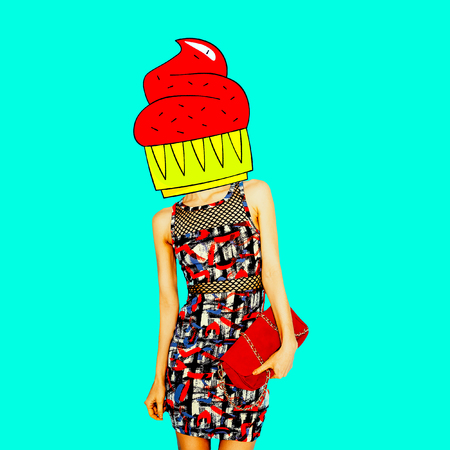 Contemporary art minimal collage.  Cake fashion Lady. Funny Fast food minimal project