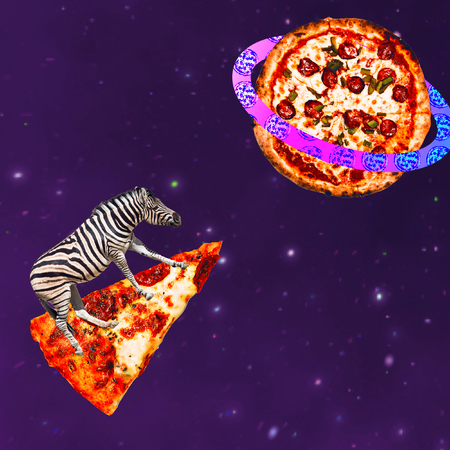Zebra flies on pizza in  pizza universe. Contemporary art collage. Funny Fast food project Banco de Imagens