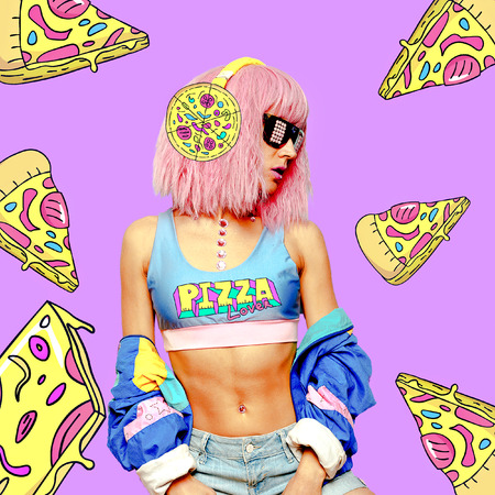 Contemporary art  collage. Girl loves Pizza. Funny Fast food minimal project