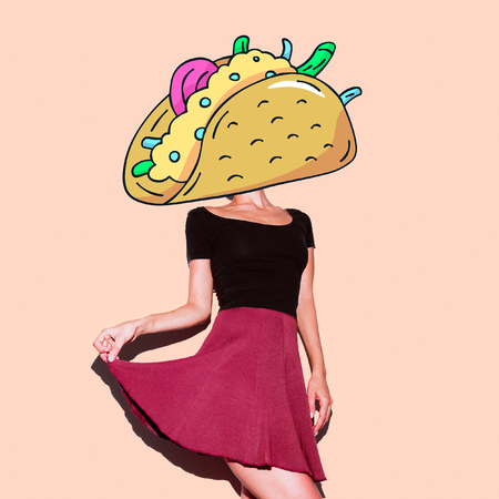 Contemporary art  collage. Lady Tacos. Funny Fast food minimal project Banco de Imagens