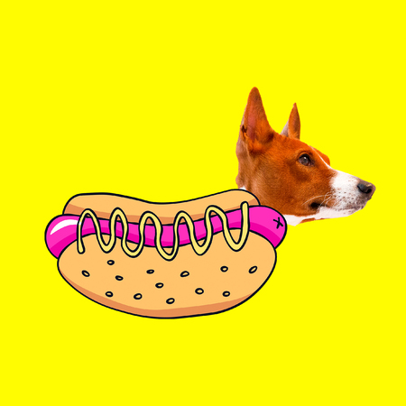 Hot Dog lover. Contemporary art collage. Funny Fast food minimal project