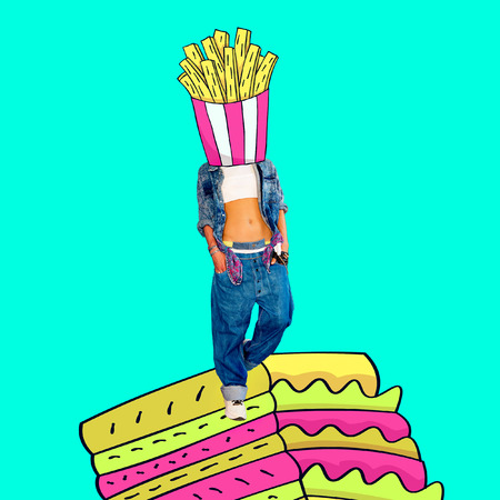 Contemporary art  collage. Fast food mood. Funny Fast food minimal project