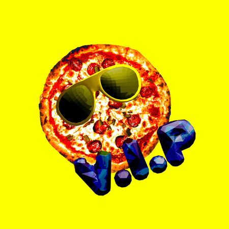 Contemporary art collage Pizza Vip. Fast food minimal project