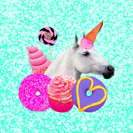 Unicorn Candy lover. Contemporary art collage. Funny Fast food project Banco de Imagens