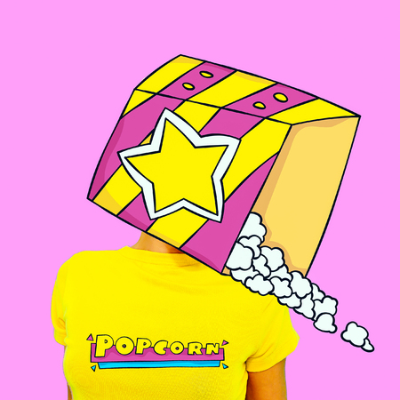 Contemporary art minimal collage.  Popcorn lover. Funny Fast food minimal project