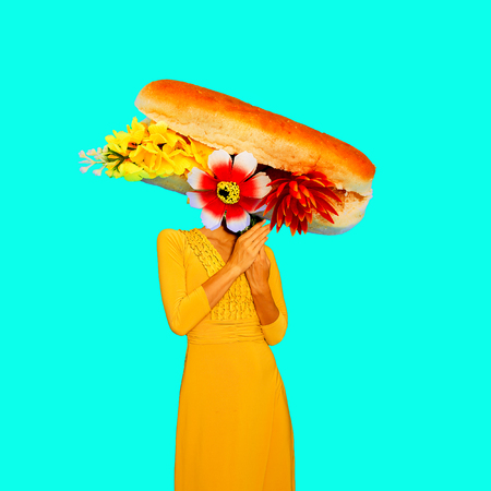 Contemporary art minimal collage.  Vintage Lady Sandwich. Funny Fast food minimal project