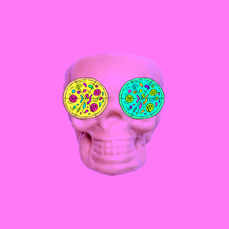 Contemporary art collage. Pizza lover skull. Fast food minimal project