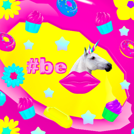 Contemporary art collage.  Be unicorn. Candy world. Fast food minimal project