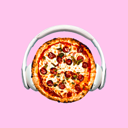 Contemporary art collage. Pizza Dj. Fast food minimal project Banco de Imagens