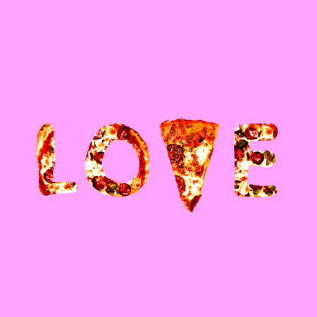 Contemporary art collage.  Love Pizza. Fast food minimal project Banco de Imagens