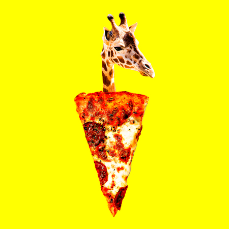 Giraffe pizza mood. Contemporary art collage. Funny Fast food project Banco de Imagens