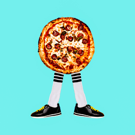 Contemporary art collage. Pizza Hipster Mood. Fast food minimal project