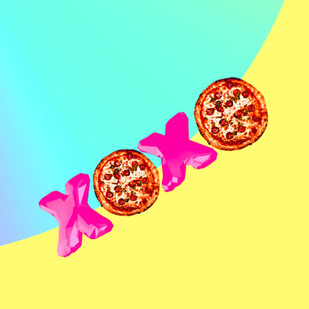 Contemporary art collage.  Pizza mood. Fast food minimal project Banco de Imagens