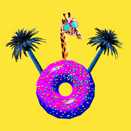 Giraffe tropic donut mood. Contemporary art collage. Funny Fast food project