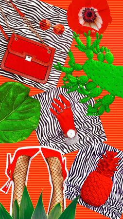 Fashion aesthetic moodboard. Summer red accessories.  Style and trendy concept Stock fotó
