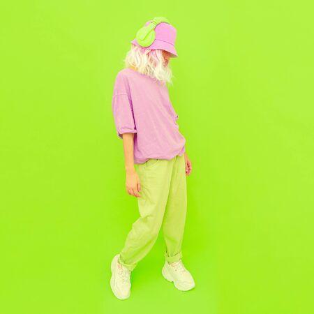 Fresh Summer Dj Girl. Monochrome Party style.  Minimal design trends