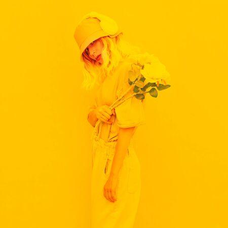 Urban Summer Dj Girl. Monochrome Minimal design trends. Yellow aesthetic