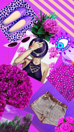 Fashion aesthetic moodboard. Spring Summer accessories. Style and trendy concept. Sunny violet mood