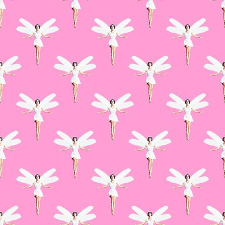 Seamless pattern. Angel Girl. Use for t-shirt, greeting cards, wrapping paper, posters, fabric print.