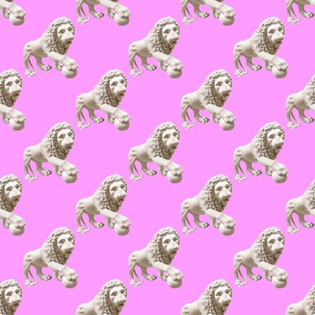 Seamless pattern. Statue Renaissance Lion. Use for t-shirt, greeting cards, wrapping paper, posters, fabric print.