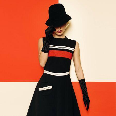Lady Retro Style Cabaret vintage clothing. Minimal Fashion. Stripe Design