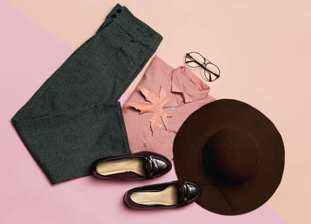 Stylish clothes set. Spring. Accessories. Hat and vintage shoes for Lady. Pants and shirt. Modern classic