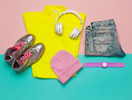 Fashion concept Stylish minimal color Fashion Clothing Set Stylish urban Beanie Headphones 版權商用圖片