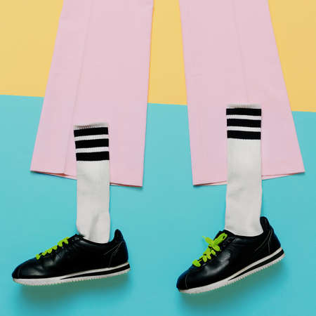 Fashion Training Sneakers and socks. Art minimal style design Colorful Swag Mix Styles