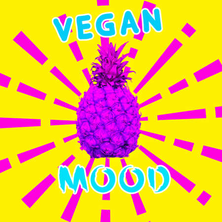 Contemporary art collage. Vegan concept Vegan mood Fashion pineapple