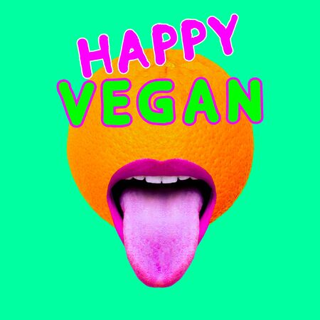 Modern design collage art. Happy Vegan concept. Fashion Orange Fruit Mood