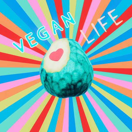Modern design collage art. Vegan colorful life concept. Cheremoya fruit