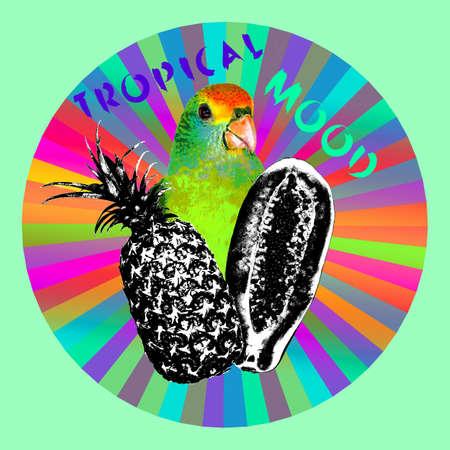 Art collage minimal Flyer design Tropical mood Jungle life Stockfoto