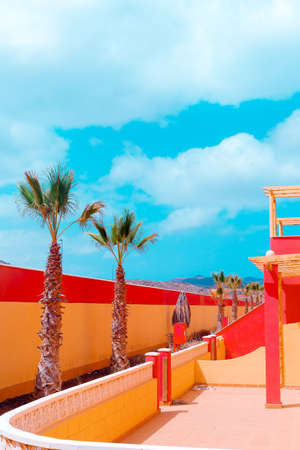 Canary island location. Bright Fashion minimal travel design. Ideal for touristic card Imagens