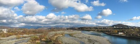 wide panoram view of the border river photo