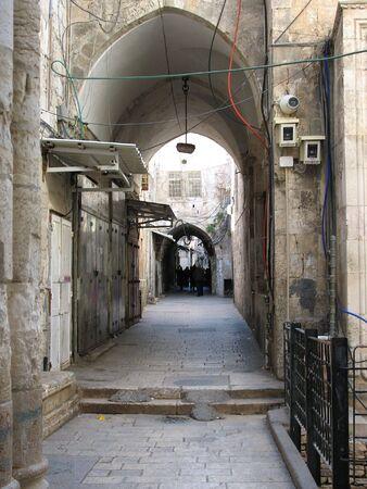 preach: Tight street in arabic town of Jerusalem