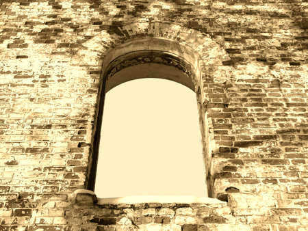 background frame of ancient ruin arc window sepia photo