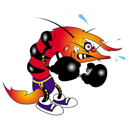ilustración vectorial de camarón boxeador feo personaje de dibujos animados  Foto de archivo - 2896967