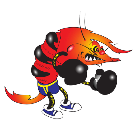 vector illustration of evil shrimp boxer cartoon character