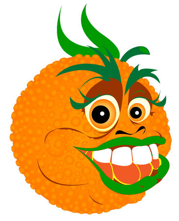 mango juice: vector illustration of tropic orange cartoon character Illustration