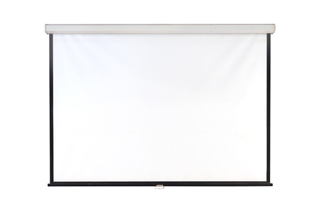 The hanging projection screen isolated on white Stok Fotoğraf