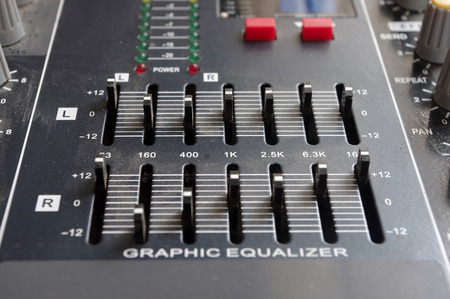 the mixing: Audio Mixing Console Stock Photo